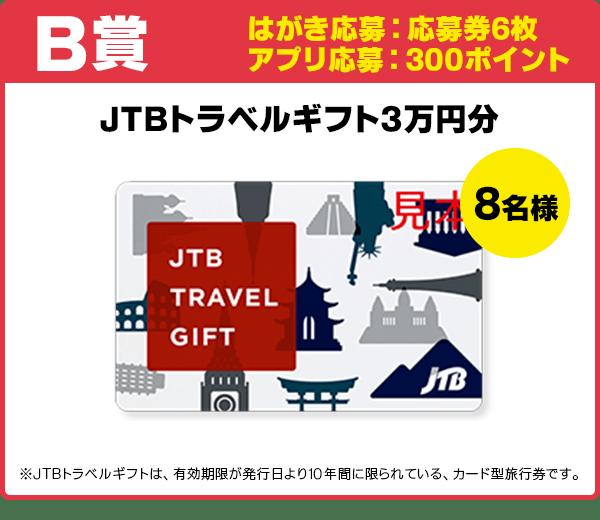 B賞 応募券6枚 JTBトラベルギフト3万円分/8名様